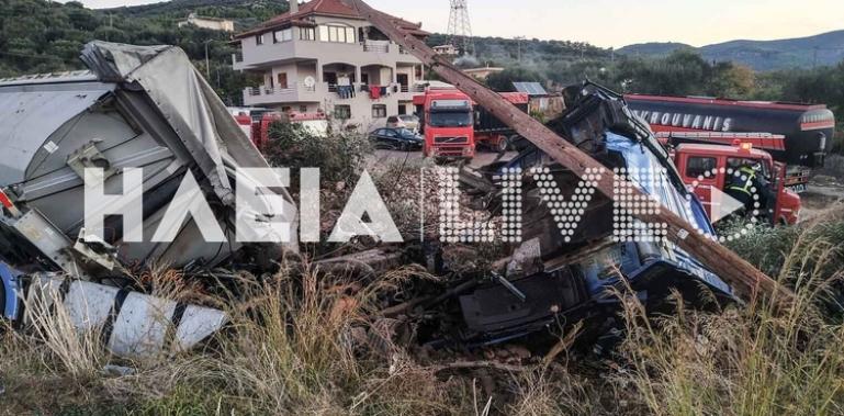 Νεκρός 22χρονος οδηγός σε εκτροπή νταλίκας στη Ζαχάρω (βίντεο)