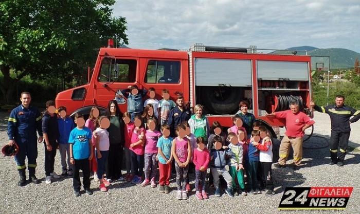 Στα Δημοτικά Σχολεία Λεύκης και Ανδρίτσαινας η Πυροσβεστική Υπηρεσία (pics)