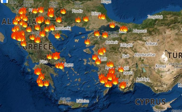 Δείτε σε διαδραστικό χάρτη τις φωτιές που μαίνονται τώρα (live) στην Ελλάδα.